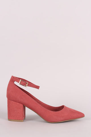 Bamboo Suede Pointy Toe Ankle Strap Block Heeled Pump