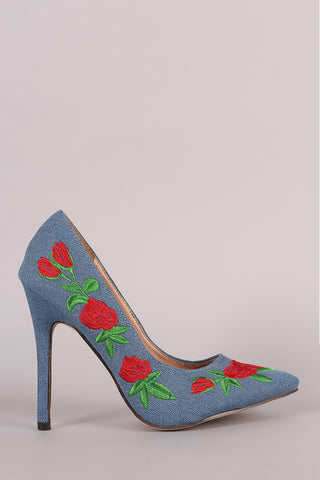 Embroidered Floral Denim Pointy Toe Stiletto Pump