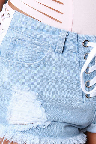 Distressed Lace-Up Mid Rise Denim Shorts