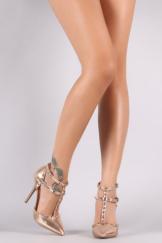 Wild Diva Lounge Metallic Studded T-Strap Pointy Toe Pump