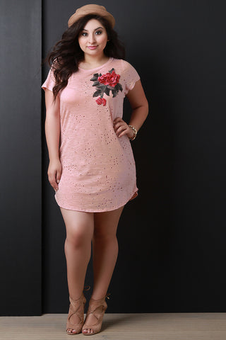 Floral Applique Distressed Short Sleeve Tee Dress
