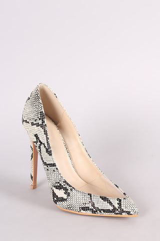 Snakeskin Pointy Toe Lucite Inset Stiletto Pump