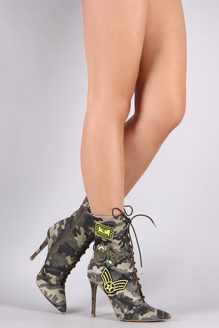 Qupid Camouflage Military Patch Lace Up Booties
