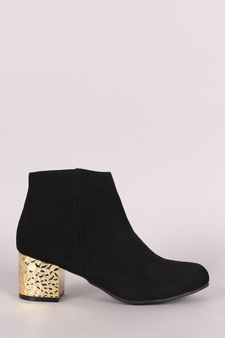 Qupid Suede Textured Metallic Block Heeled Booties