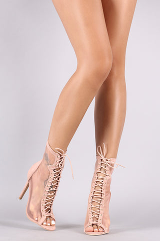 Suede Trim Sheer Mesh Lace-Up Stiletto Booties