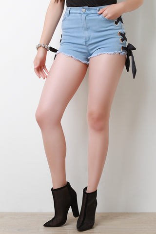 Eyelets Side Lace-Up Ribbon High Waisted Denim Shorts