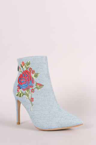 Embroidered Rosette Denim Pointy Toe Stiletto Booties