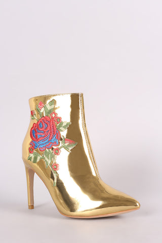 Embroidered Rosette Metallic Pointy Toe Stiletto Booties