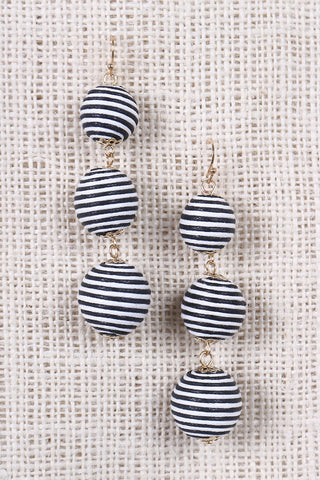 Striped Triple Bead Dangling Earrings