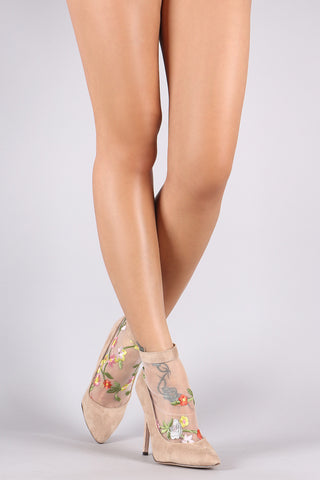 Floral Applique Mesh Suede Pointy Toe Stiletto Heel