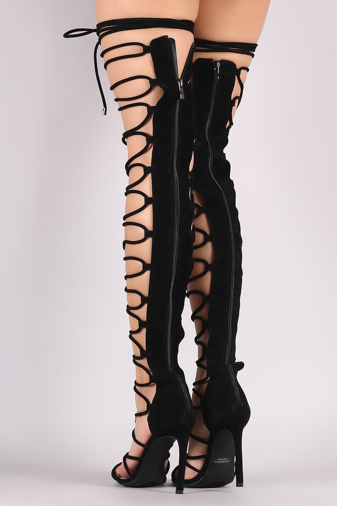 4aa505b366f5 Suede Strappy Open Toe Lace Up Stiletto Over-The-Knee Boots – Kurve ...