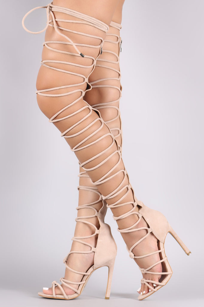 d12257528c8 Suede Strappy Open Toe Lace Up Stiletto Over-The-Knee Boots – Kurve ...