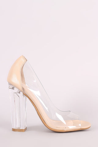 Bamboo Transparent Chunky Lucite Heeled Pump