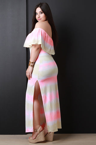Tie Dye Ruffle Bardot Side Slit Maxi Dress