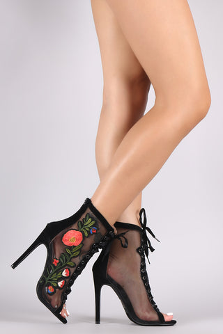 Mesh Floral Patch Lace Up Suede Stiletto Ankle Boots