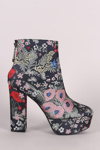 Qupid Floral Brocade Chunky Heeled Platform Booties