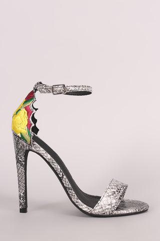 Snakeskin Ankle Strap Embroidery Stiletto Heel