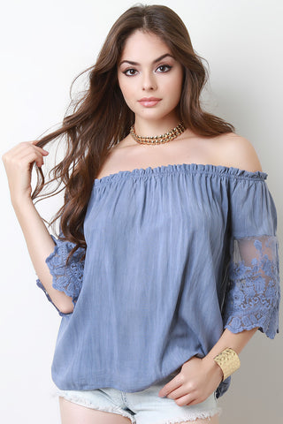 Off The Shoulder Crochet Mesh Three Quarter Sleeve Top