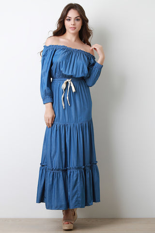 Chambray Off The Shoulder Tiered Maxi Dress