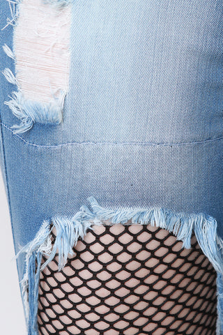 Destroyed Denim Fishnet-Inset Fray Hem Capri Jeans