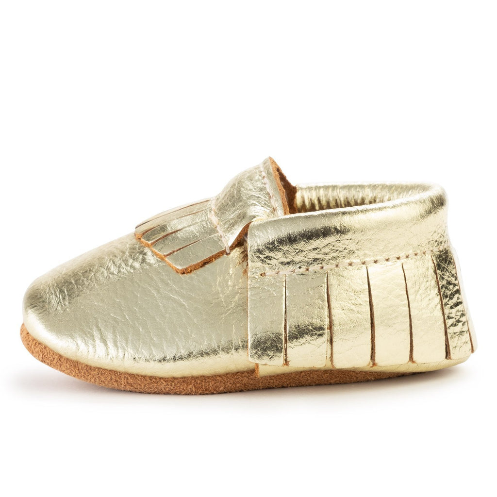 BirdRock Baby - Gold Genuine Leather Baby Moccasins