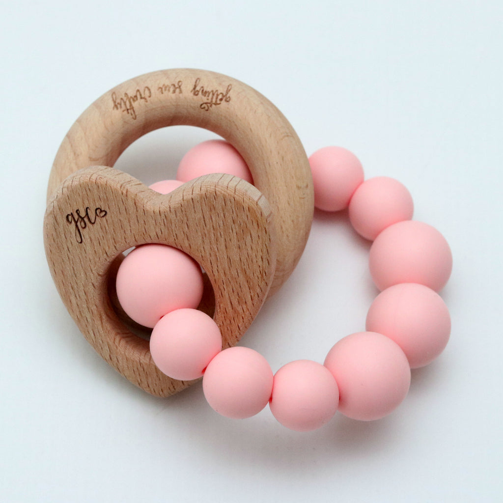 Natural Heart - Silicone + Wood - DOT.KIDZ - Teething