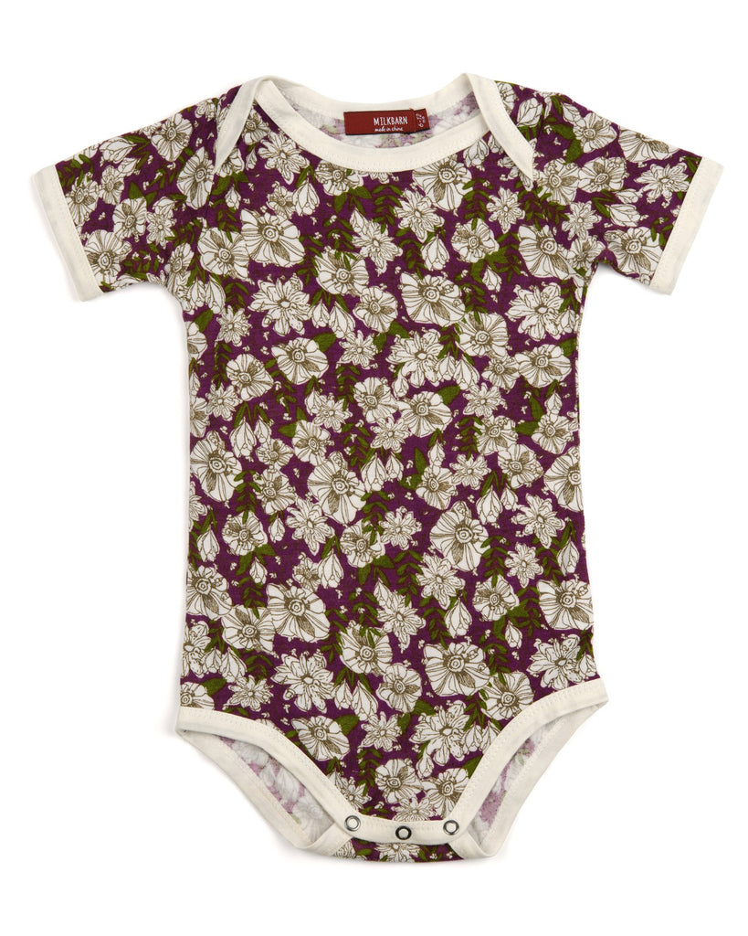 Purple Floral Oneise - DOT.KIDZ