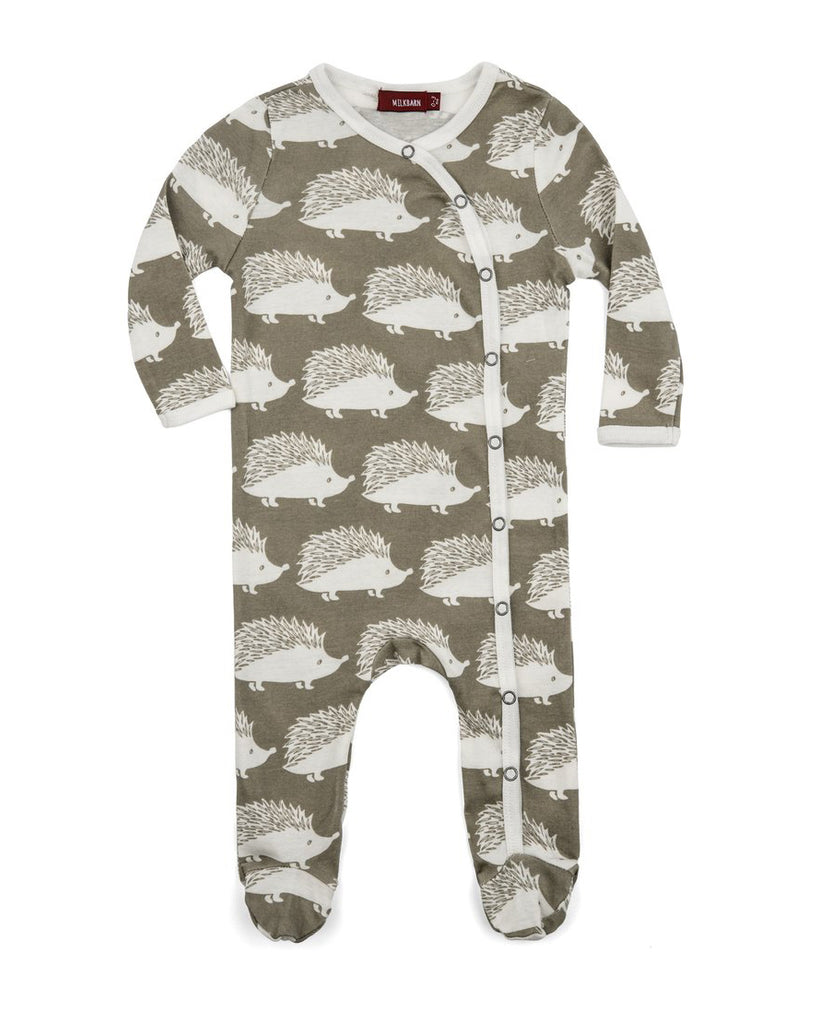 Grey Hedgehog Footed Romper - DOT.KIDZ