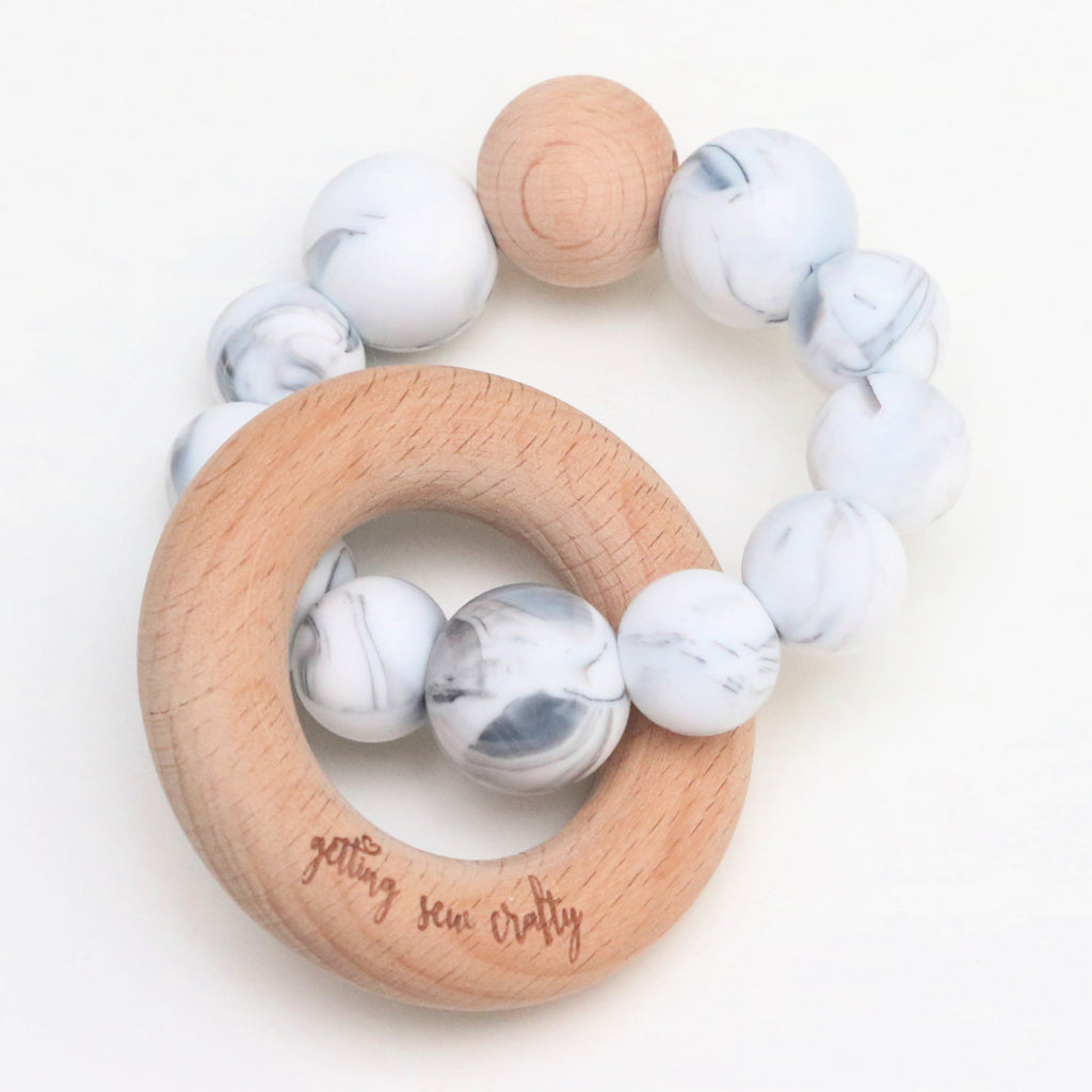 Getting Sew Crafty - Teether - Silicone + Wood |Marble|