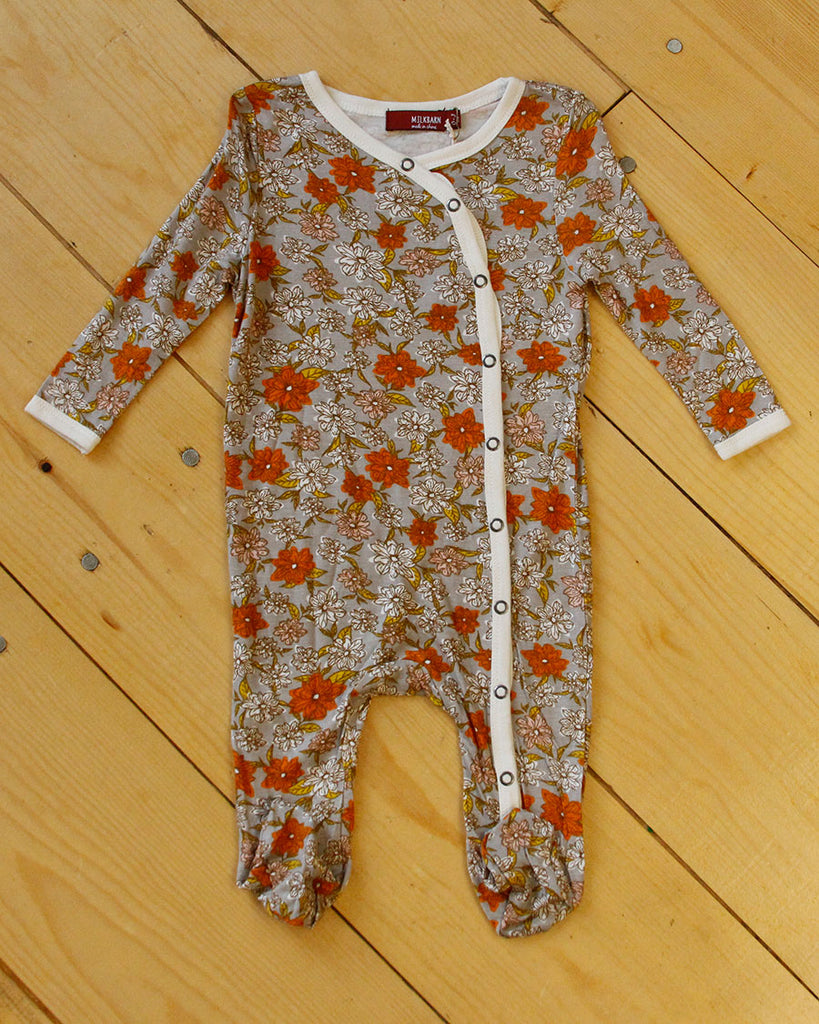 Grey Floral Footed Romper - DOT.KIDZ