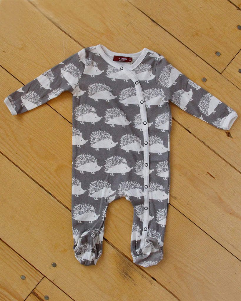 Grey Hedgehog Footed Romper - DOT.KIDZ - Milkbarn