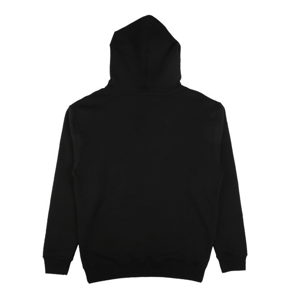 Logo Puff Print Hooded Pullover Sweatshirt Black