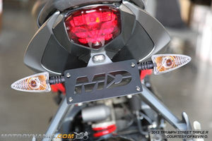 2013-2018 Triumph Street Triple Fender Eliminator Kit | 2013-2018 Triumph Street Triple Tail Tidy | LED Plate Light