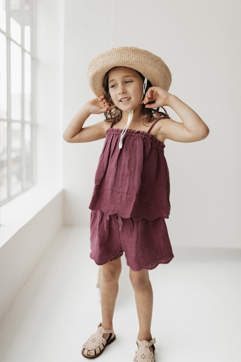 Organic Cotton Muslin Quinn Shorts - Grape
