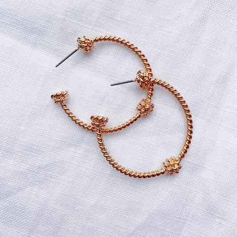 Peach It Earring - Knotted Gold Hoops