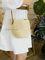 Delilah Straw Crossbody Bucket Bag