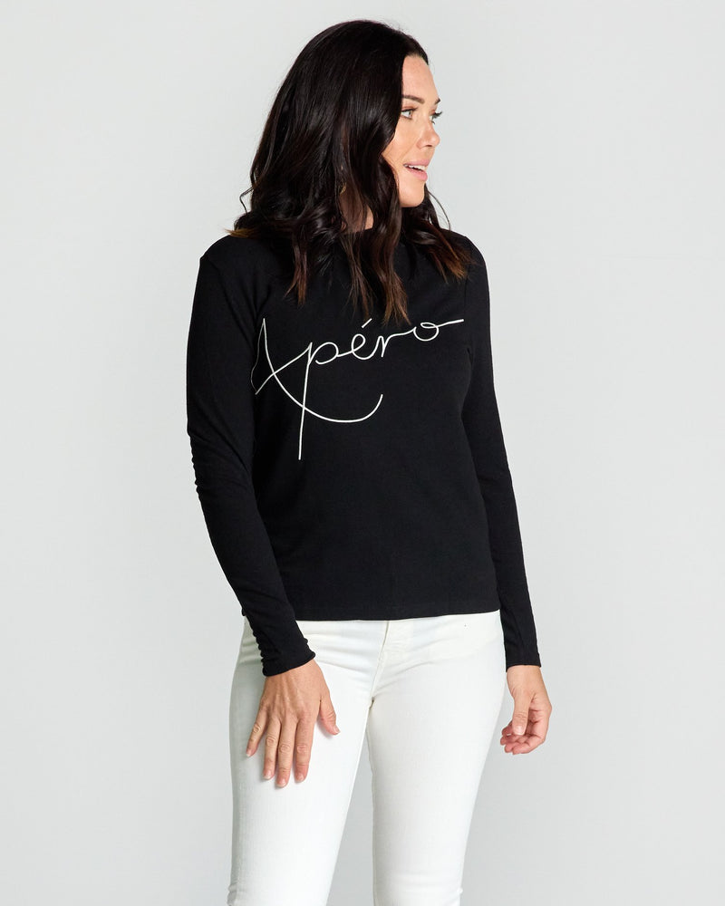 Blaise Embroidered Long Sleeve Top - Black / White