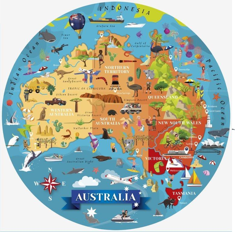 Sassi Travel, Learn, Explore Australia Puzzle and Bookset - 205pc