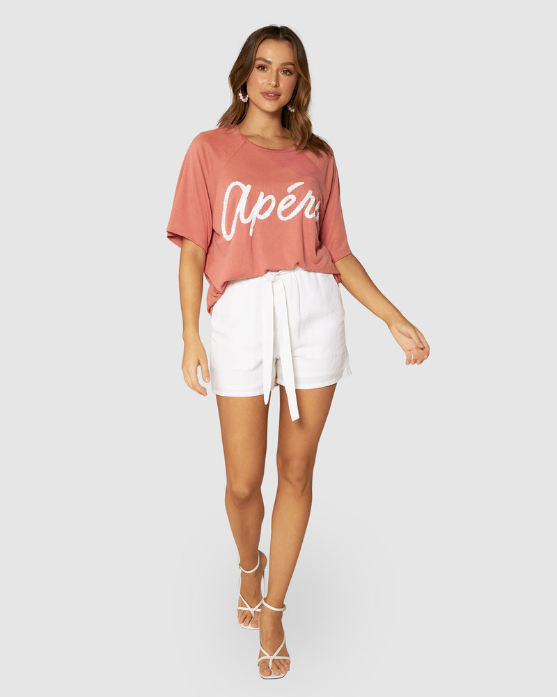 Colada Beaded Oversized Tee - Peach Pink / White
