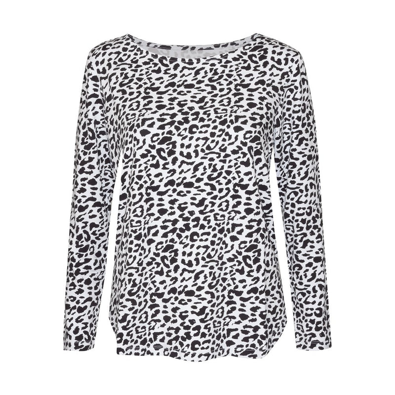 Adele Long Sleeve Tee - Black Leopard