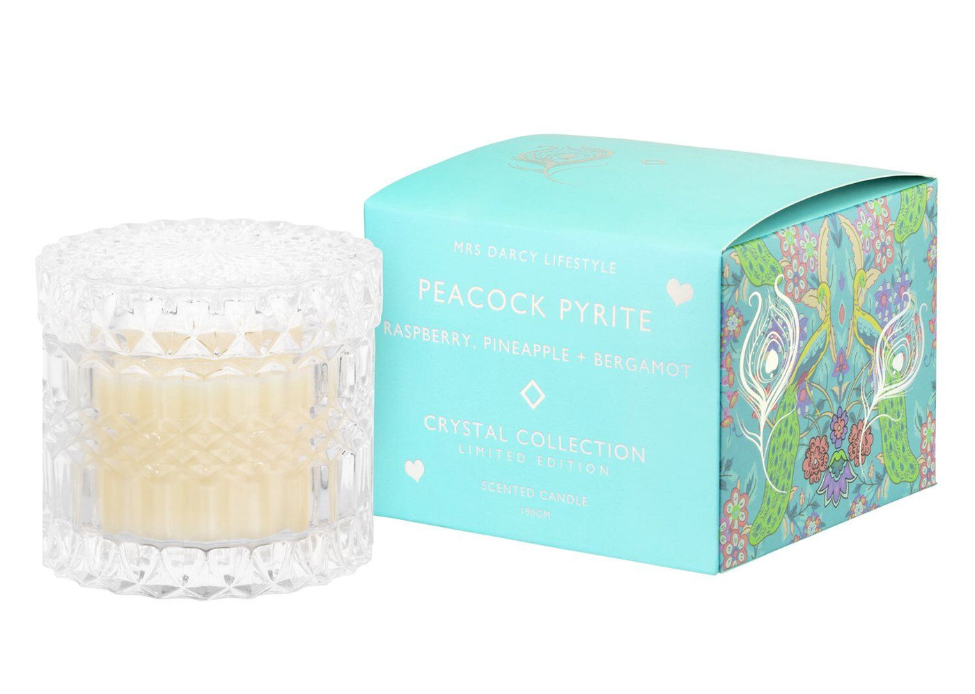 Petite Peacock Pyrite Candle - Raspberry, Pineapple + Bergamont