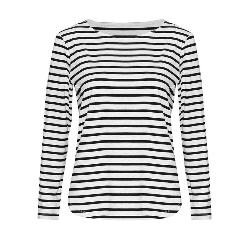 Adele Long Sleeve Tee - Grey Marle & Black Stripe