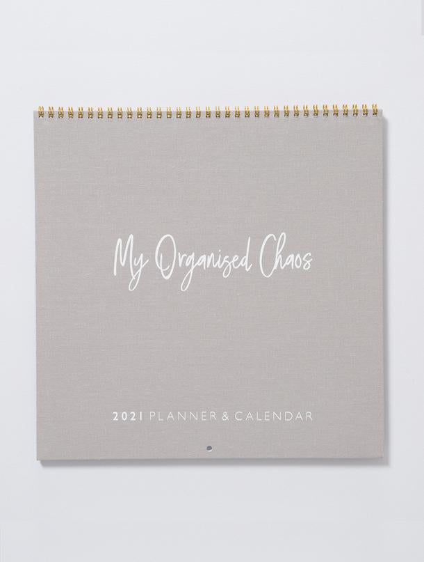 2021 Linen Wall Planner and Calendar Blush and Grey