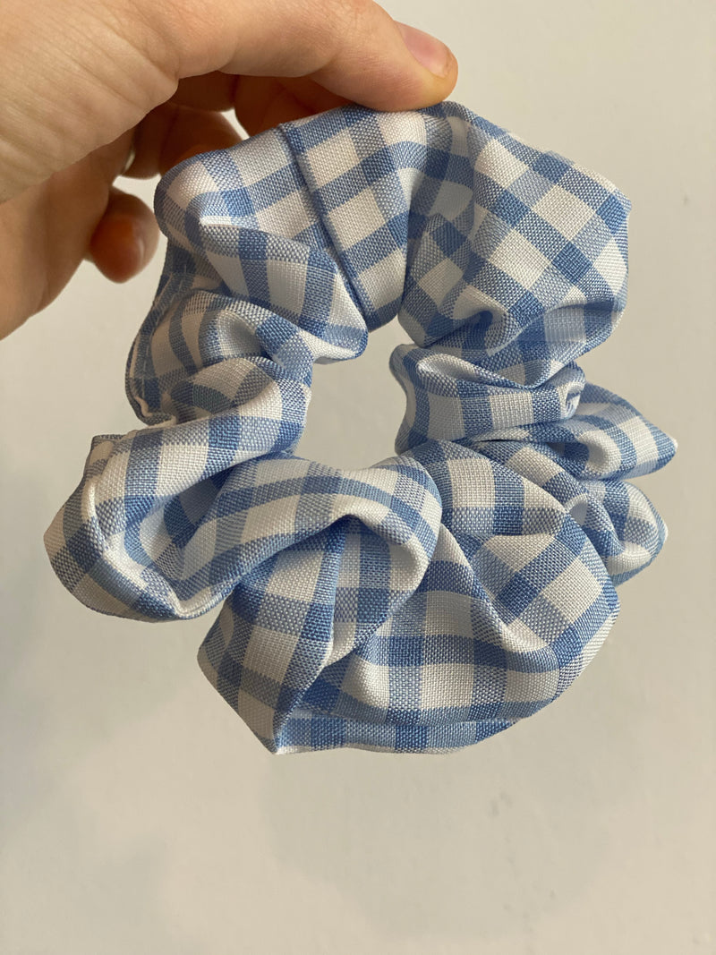 Blue Gingham Srunchie