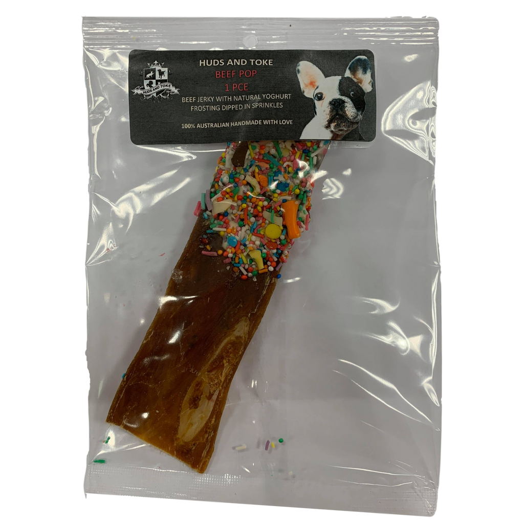 DOG TREATS Huds and Toke Beef Pop | Dipped Beef Jerky