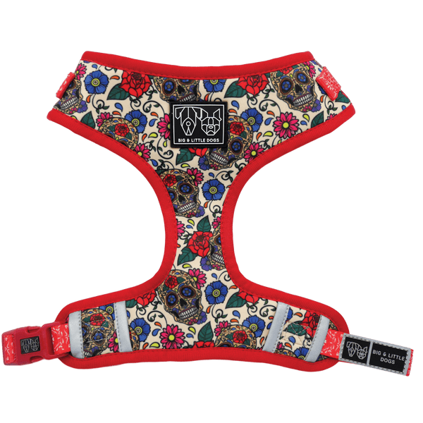 Adjustable Dog Harness for Big and Small Dogs Day of the Dead Skulls