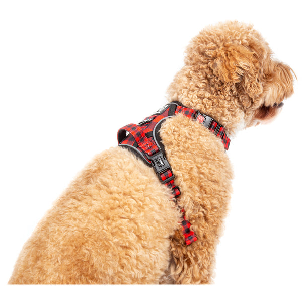 All Rounder Harness No Pull Front Clip Harness Red and Black Plaid
