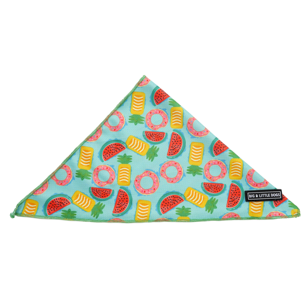 Dog Cooling Neckerchief Bandana A Splashing Good Time Pool Floats Fruits
