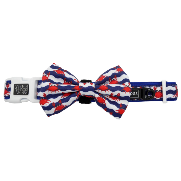 Dog Collar and Bow Tie Under The Sea Crabs Wavy Water