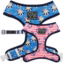 Reversible Dog Harness Neoprene and Mesh Feeling Nauti Hippos Nautical Pink Stripes